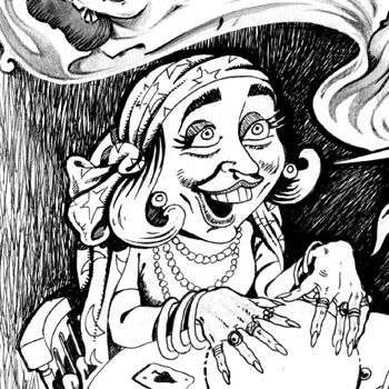 detail of newspaper illustration of bill and hillary clinton holding a seance