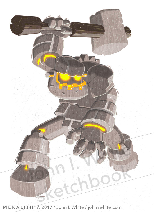 concept art of a giant stone robot