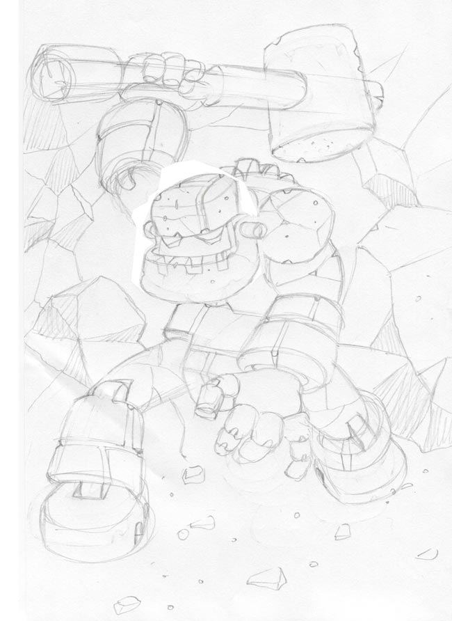 concept art sketch of a giant stone robot