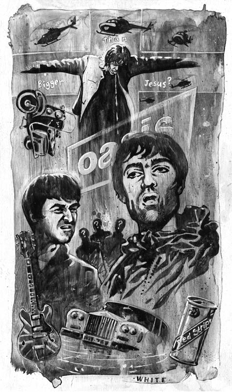newspaper illustration of the band oasis