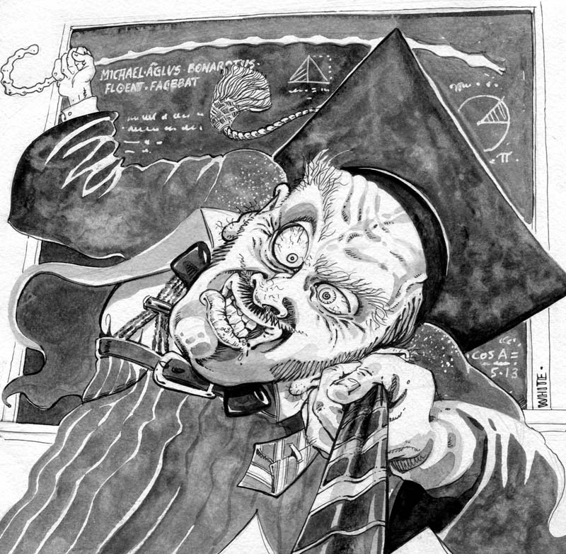 book illustration for teachers evil old-style teacher with morar board and cane