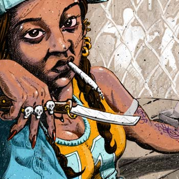 detail of news illustration for article about american girl street gangs