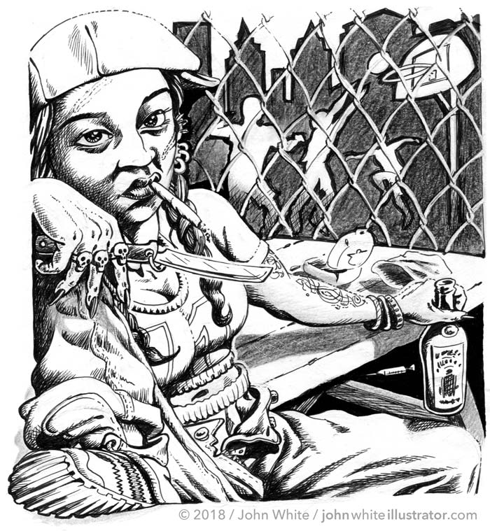 black and white news illustration for article about american girl street gangs