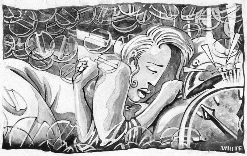 newspaper illustration about drugs sleeping pills