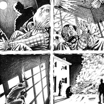 thumbnail illustration news storyboard strip about a gruesome murder