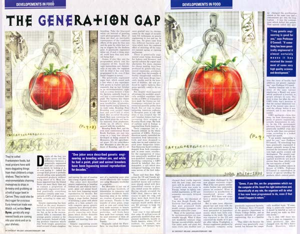 scan of genetically modified food magazine article illustrations