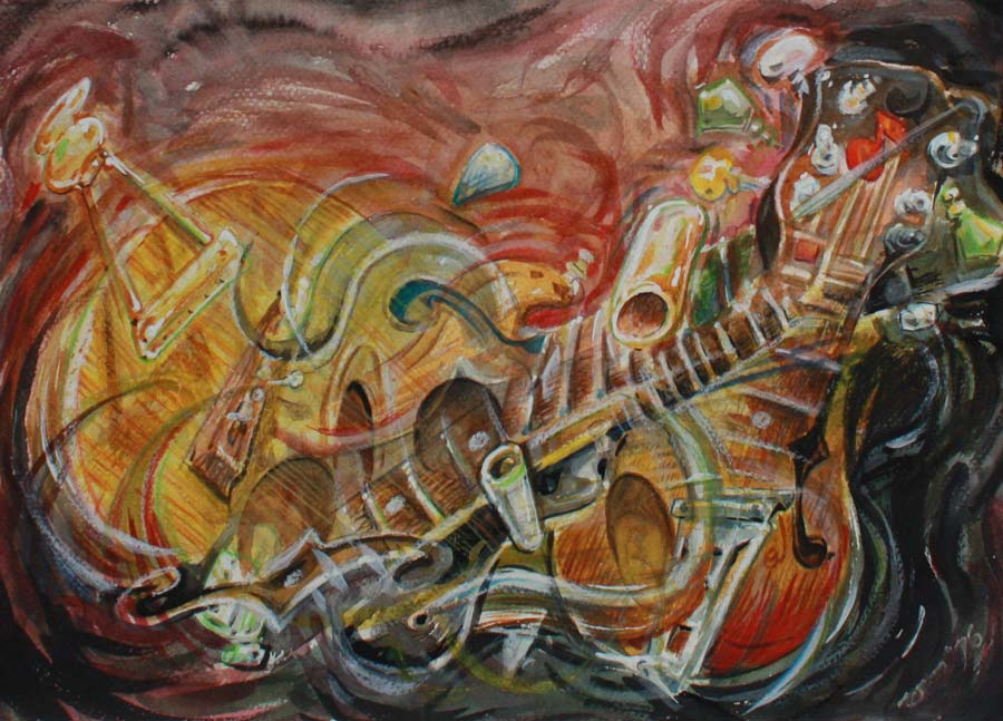 cheap guitars meshed together in a weird painting