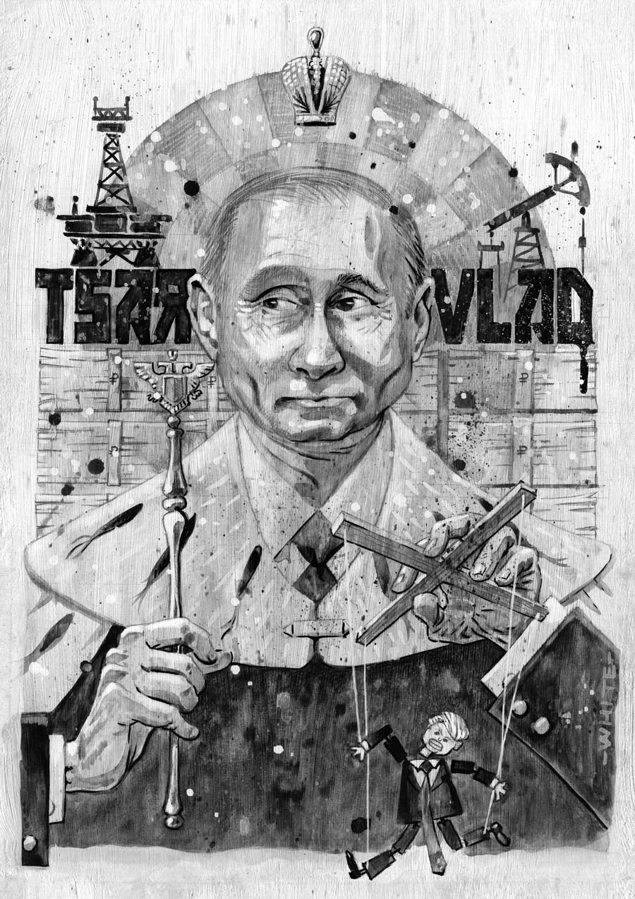 editorial newspaper style illustration of vladimir putin tsar black & white