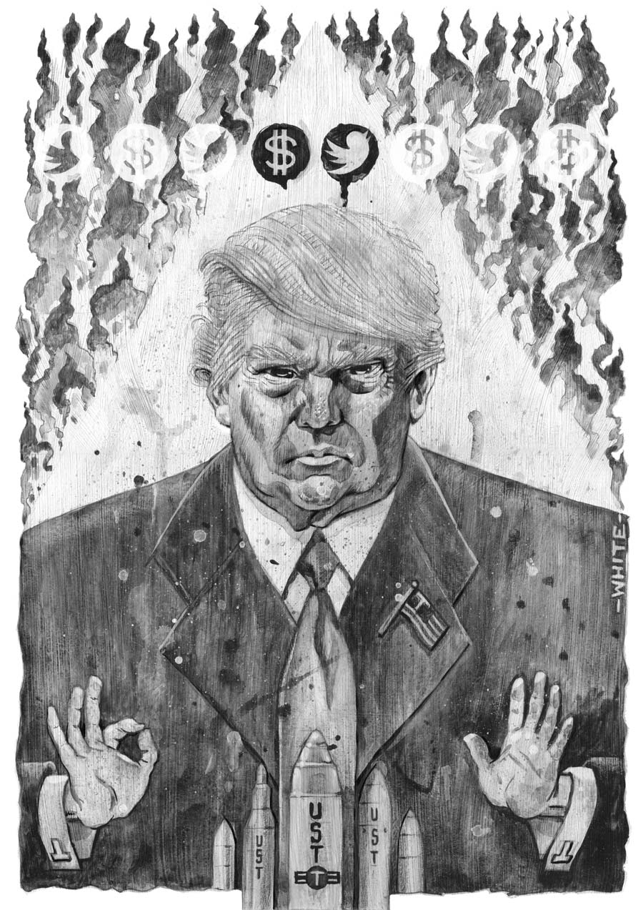 b&w donald trump illustration with nuclear missiles, ku klux klan hood, flames, twitter and dollar sign