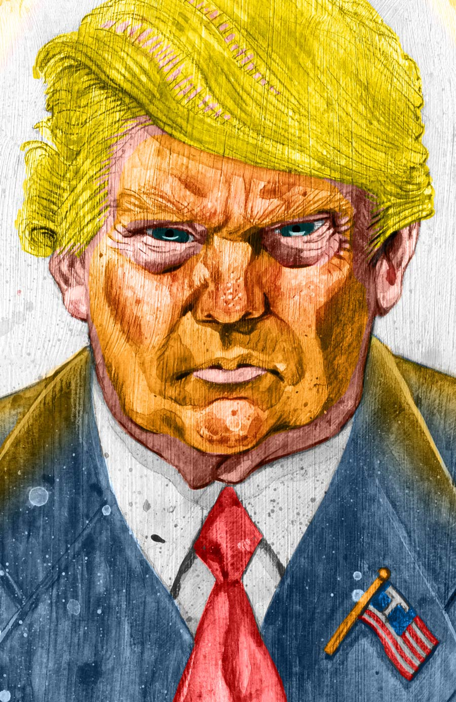 detail of donald trump illustration