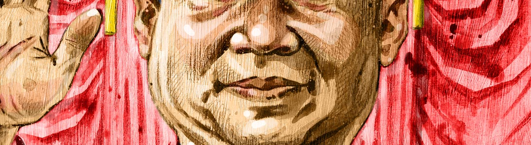 detail of editorial newspaper style illustration of xi jinping