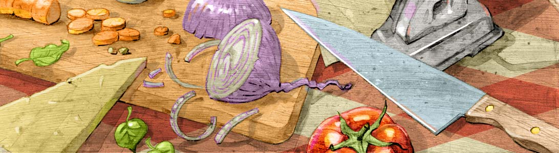 detail of cucina italiana italian food cooking full colour illustration