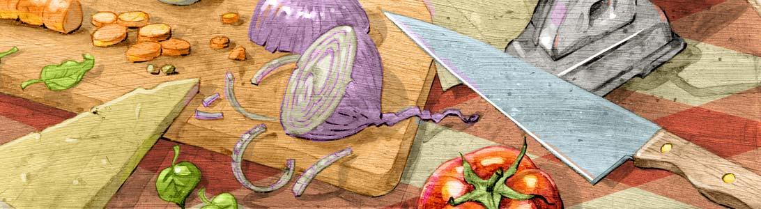 detail of cucina italiana italian food cooking full colour illustration