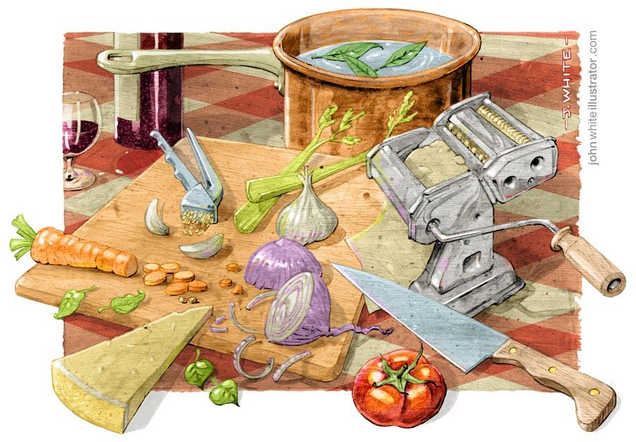 cucina italiana italian food cooking full colour illustration