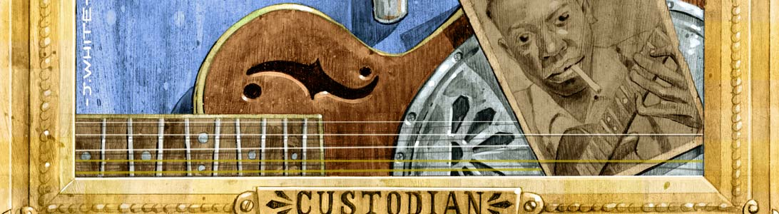 detail of album art illustration for david king custodian