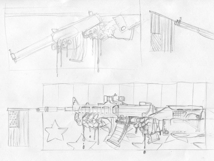 gun control illustration sketches