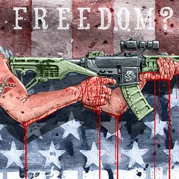 preview of illustration about american USA gun control and the NRA ar-15 bump stock