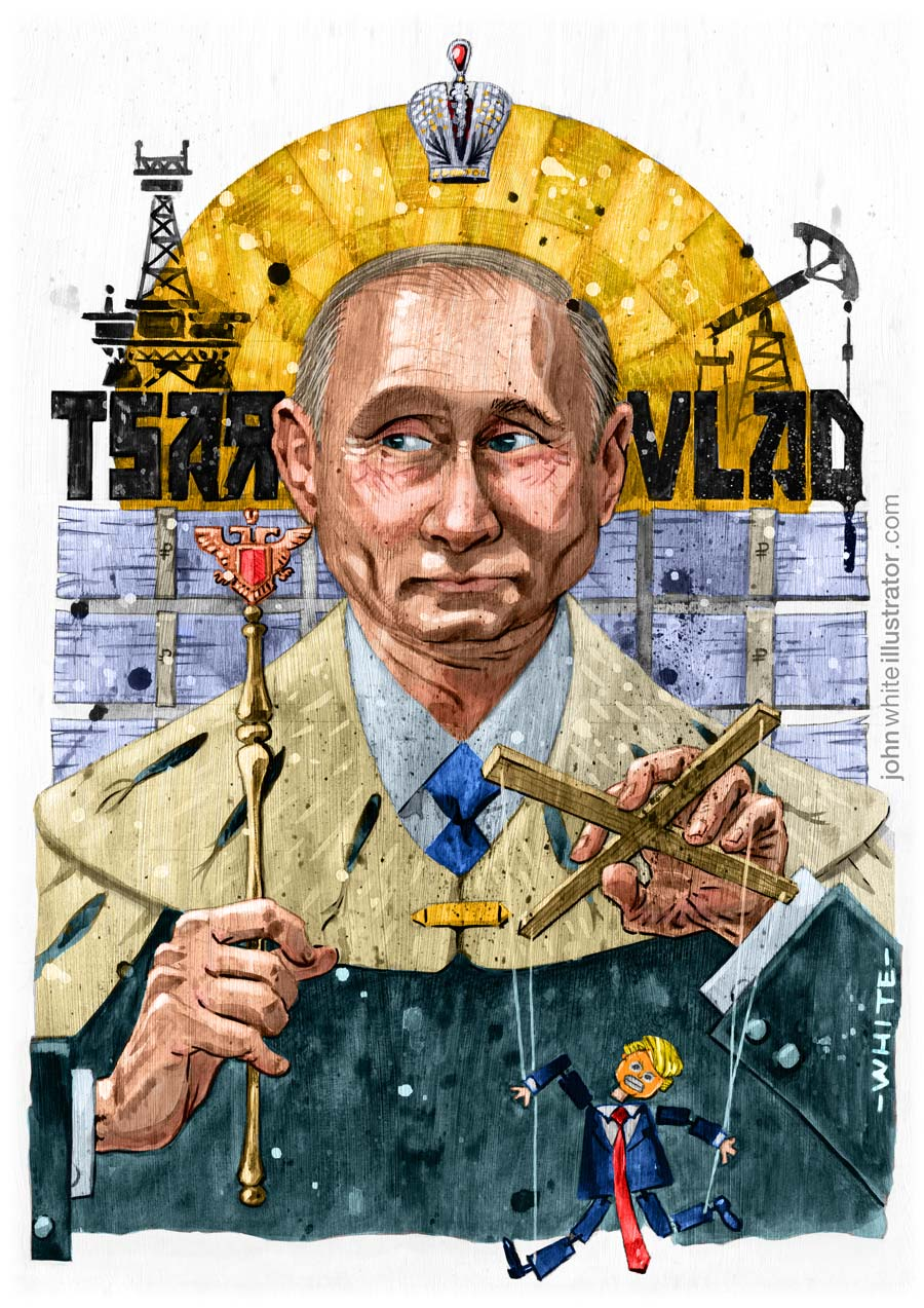 editorial newspaper style illustration of vladimir putin tsar colour