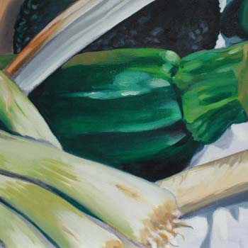 preview of still life painting in oils of vegetables