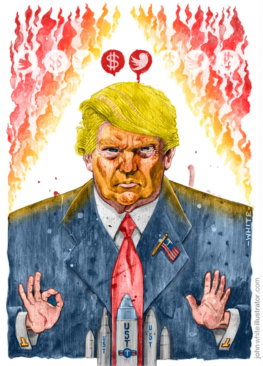 donald trump illustration with nuclear missiles, ku klux klan hood, flames, twitter and dollar sign