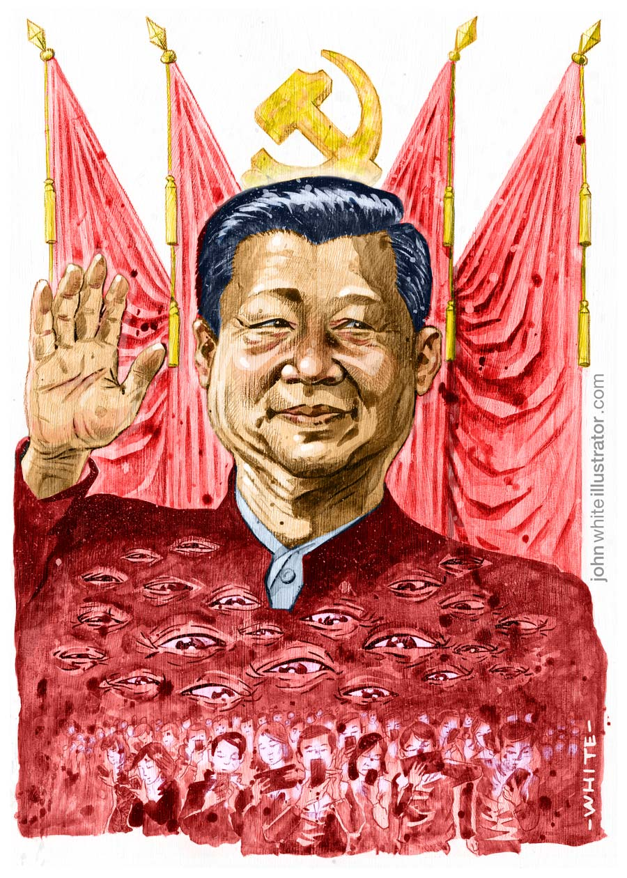 editorial newspaper style illustration of xi jinping