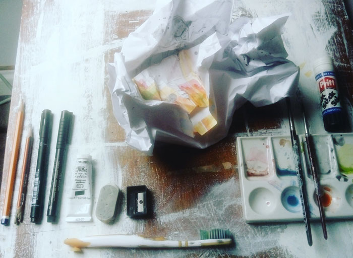 crumpled artwork