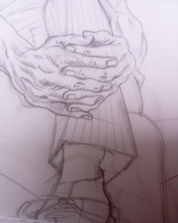 pencil study of clasped hands