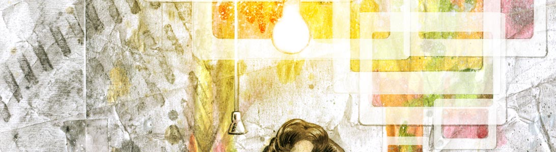 detail of illustration of painter francis bacon finding inspiration ideas