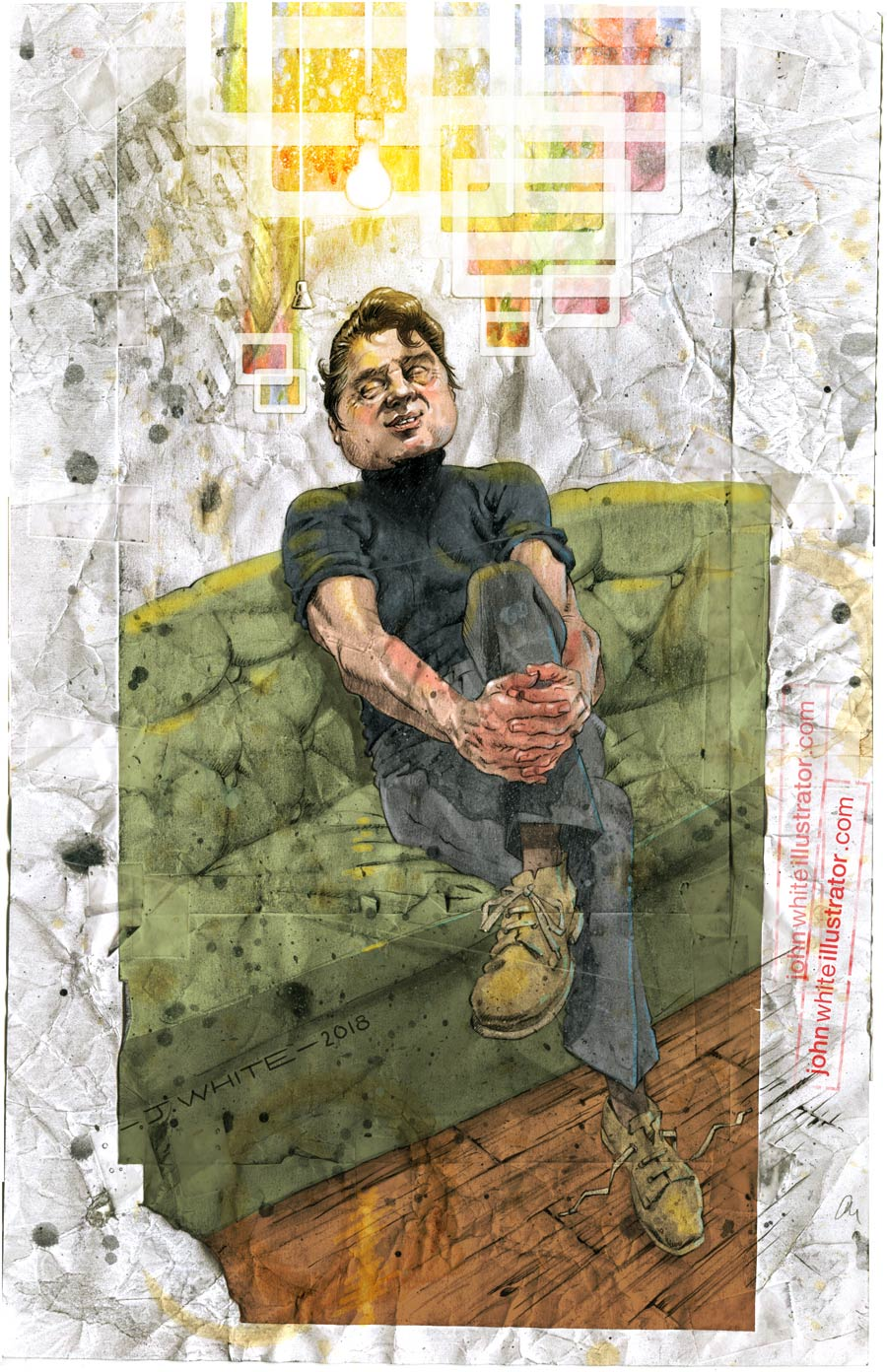 illustration of painter francis bacon finding inspiration daydream ideas slides