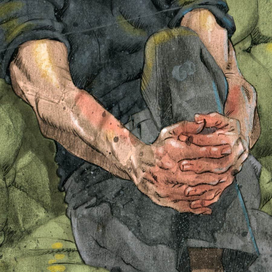 detail of illustration of painter francis bacon
