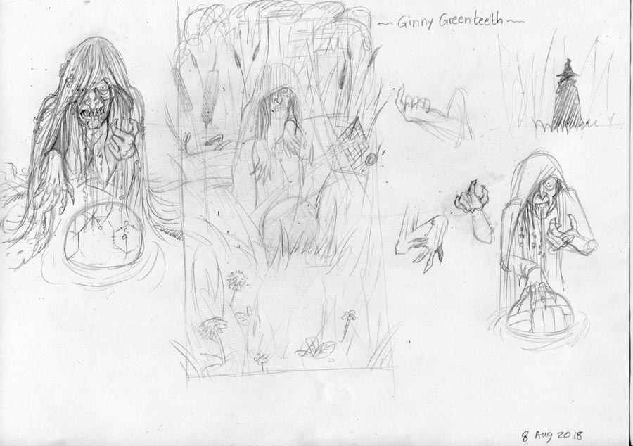 preliminary sketch of Ginny Jenny Greenteeth by John White