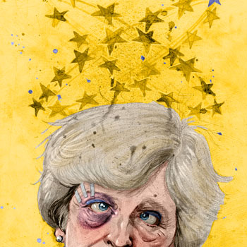 preview of colour editorial illustration of theresa may and brexit negotiations