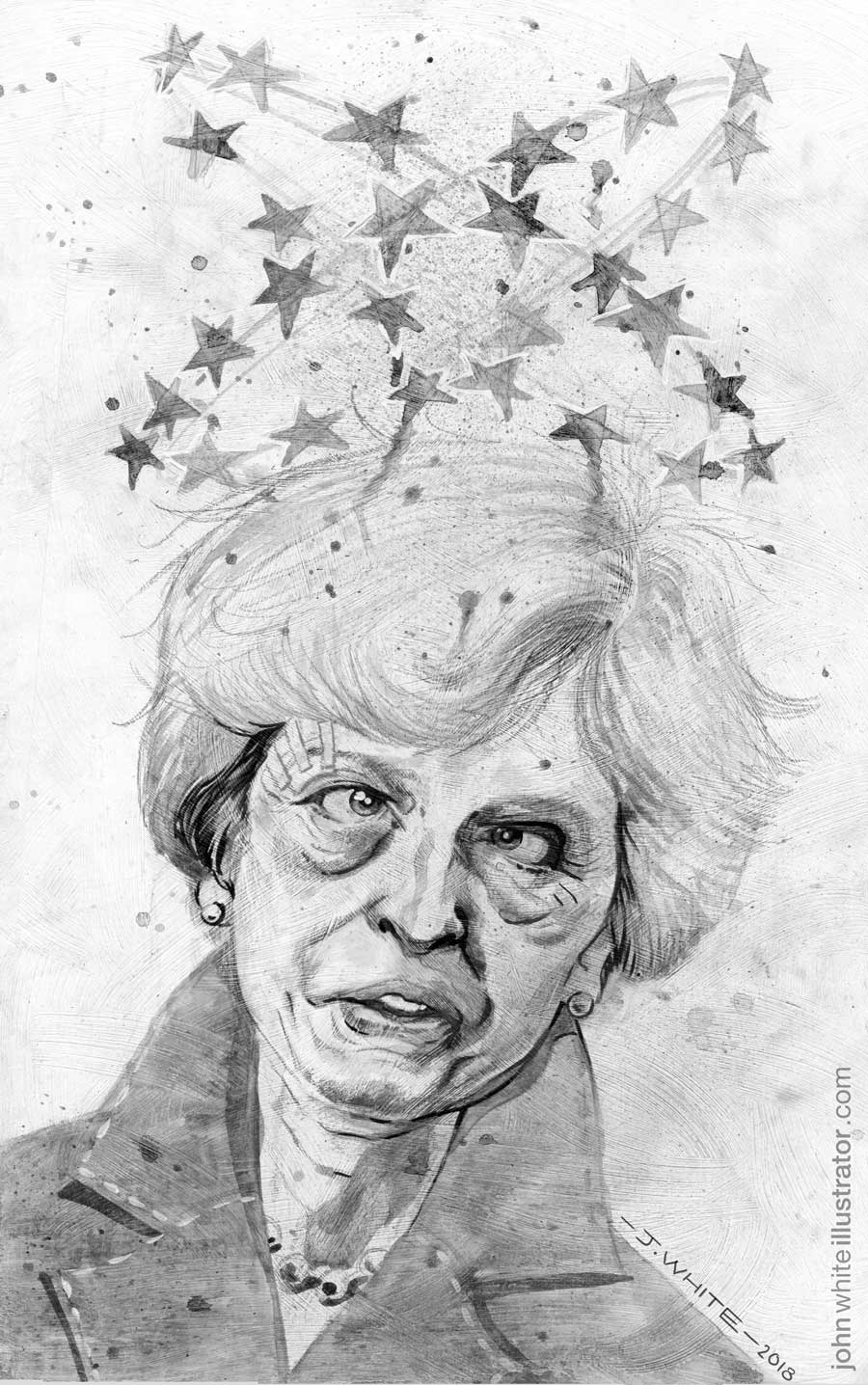 black and white editorial illustration of theresa may and brexit negotiations