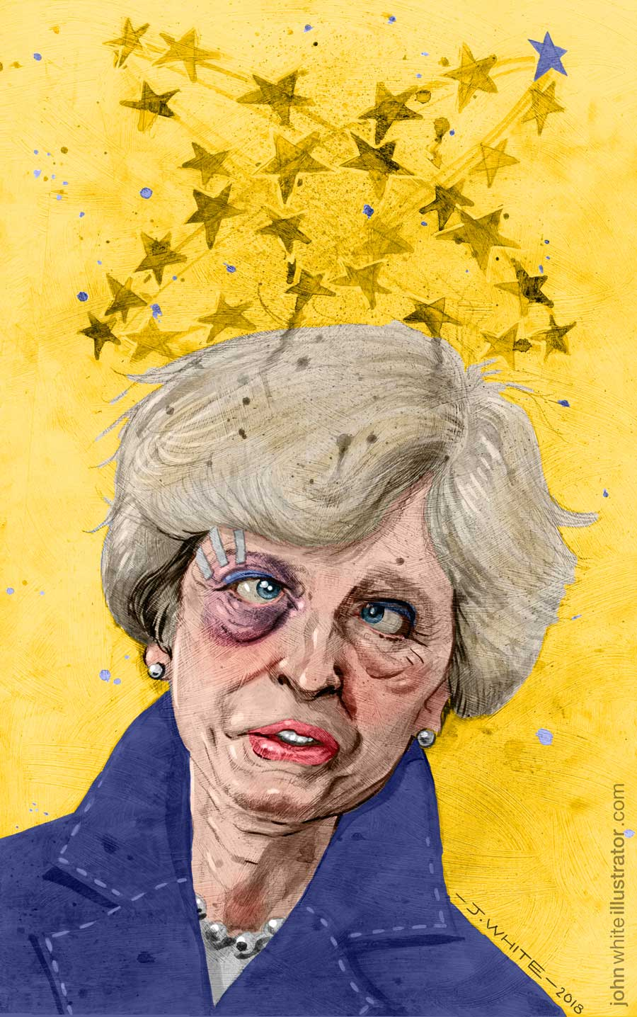 colour editorial illustration of theresa may and brexit negotiations
