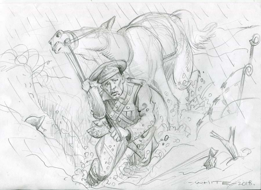 pencil drawing of a tommy on the western front in world war 1 wwi