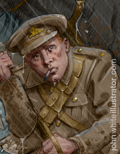 close-up detail of an illustration of a tommy on the western front in world war 1 wwi