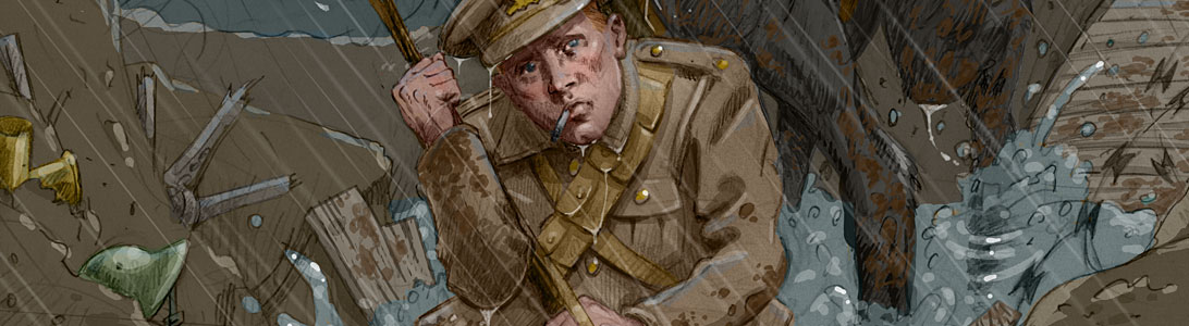 detail of an illustration of a tommy on the western front in world war 1 wwi