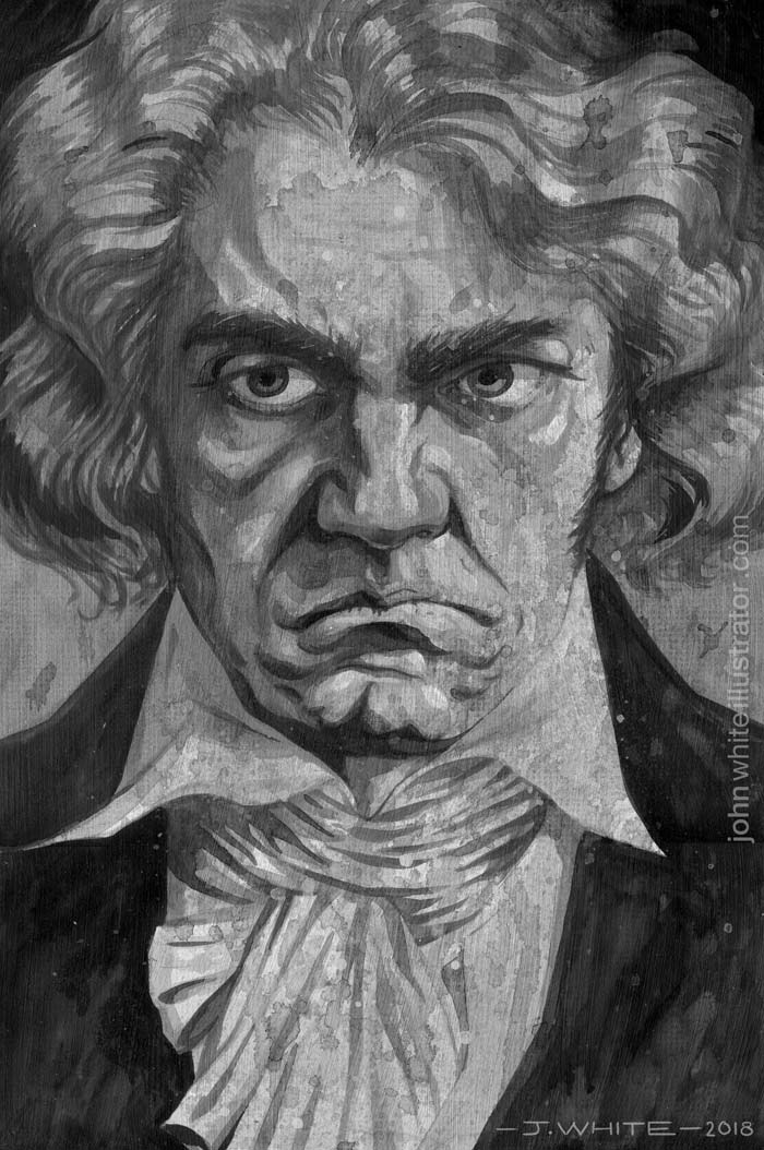 beethoven painting black and white