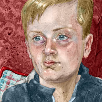 preview of child portrait goauche paint and digital colour