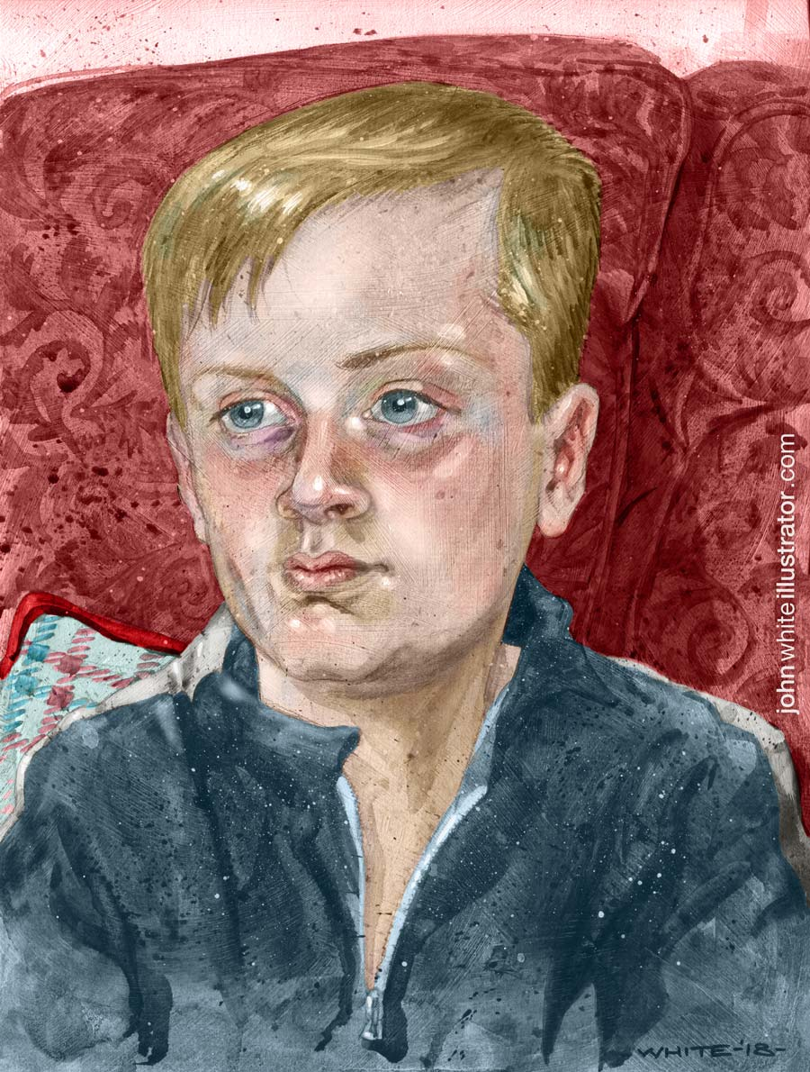 child portrait goauche paint and digital colour