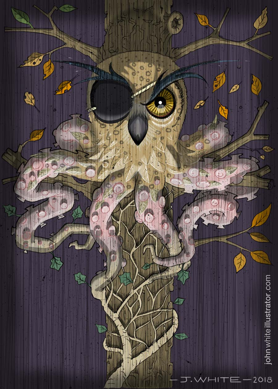 Owl, Ivy, Ocyopus chimera illustration art