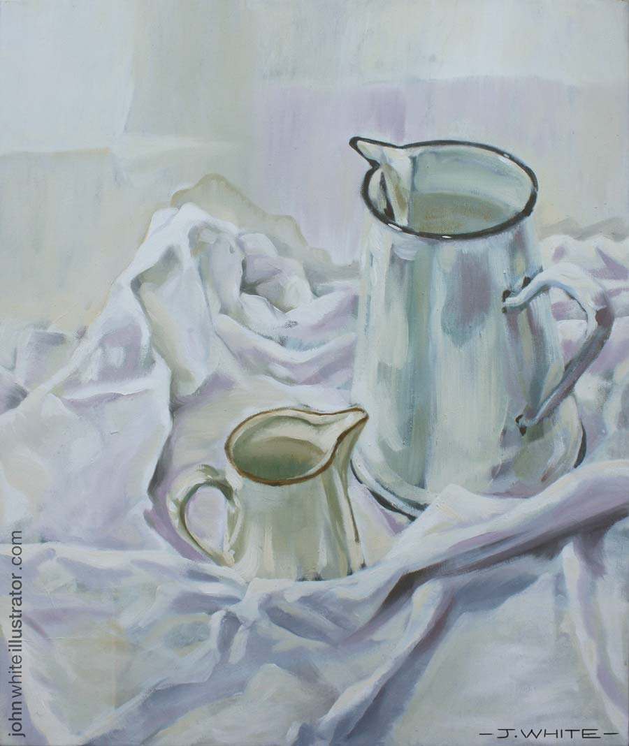 preview of still life white study of jugs and white table cloth
