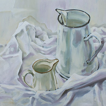still life white study of jugs and white table cloth