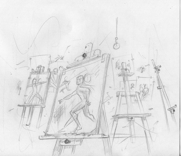 art college studio easels sketch
