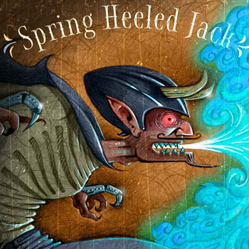 Preview detail image of Spring Heeled Jack sepia tone illustration