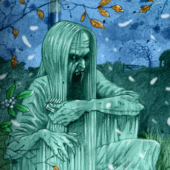 preview of scary horror colour book illustration of irish banshee