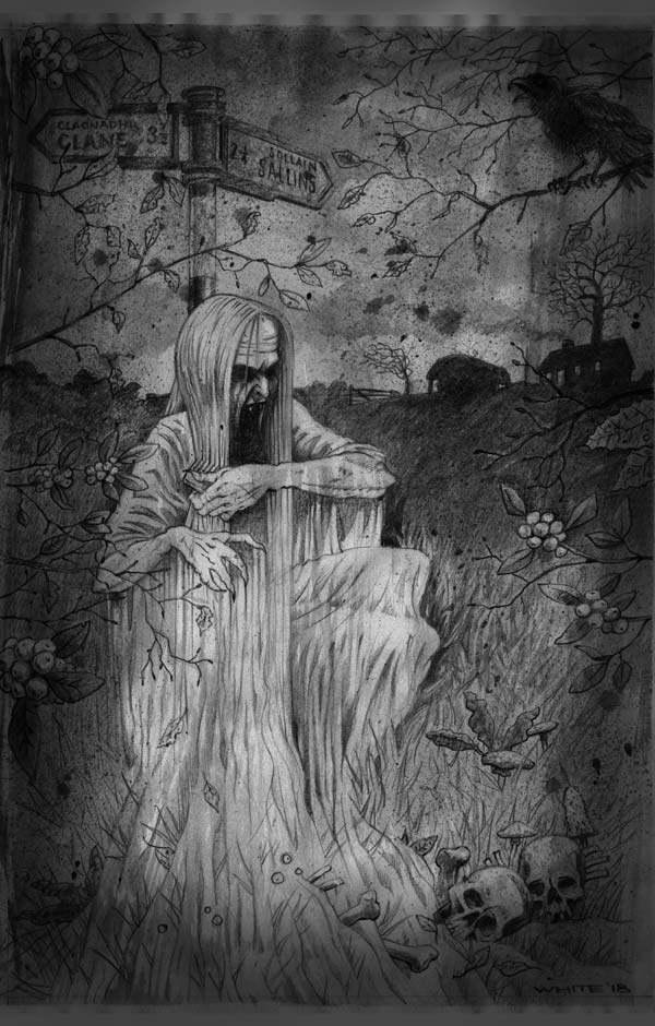 pencil illustration of irish banshee