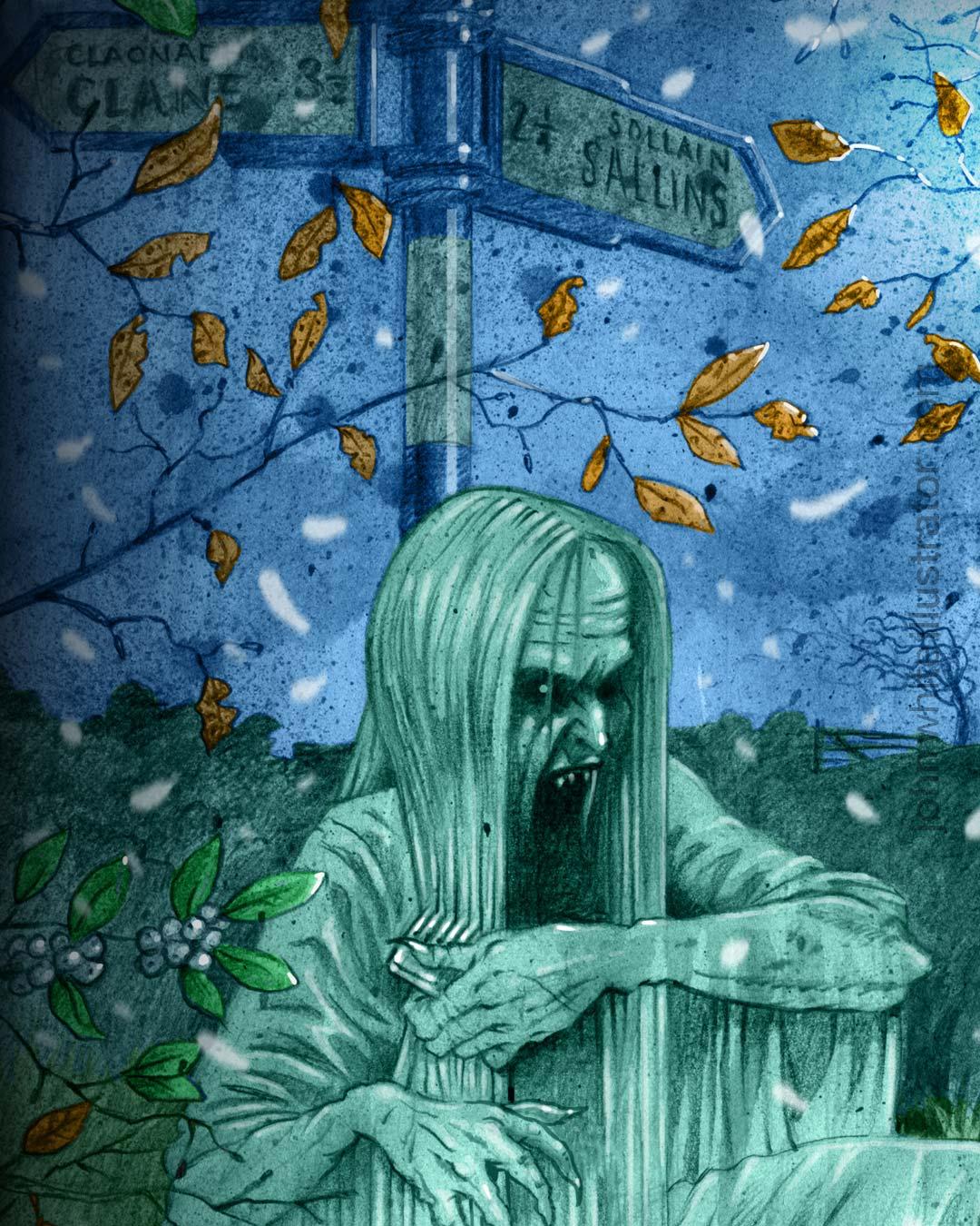 detail of banshee illustration