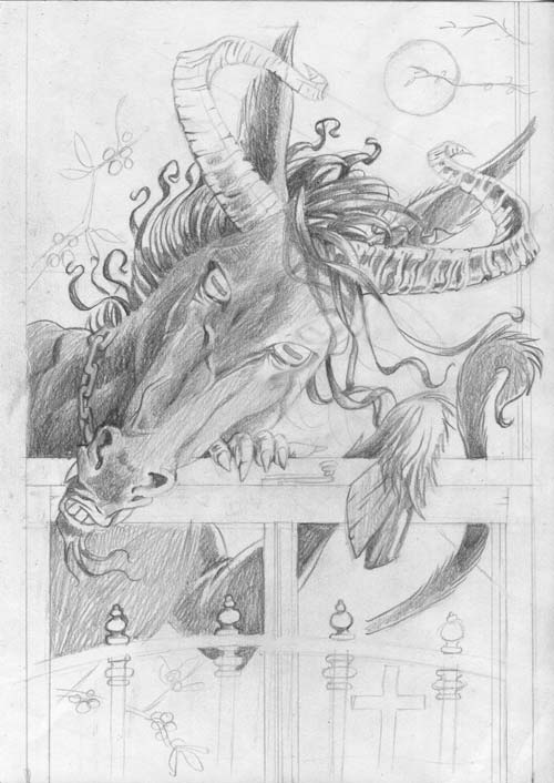 pencil illustration of the irish puca pooka spirit ghost fairy of rural ireland