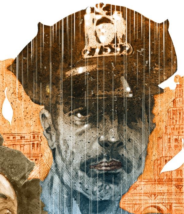 Detail of illustration, officer Bell of If Beale Stereet could talk, Ed Skrein